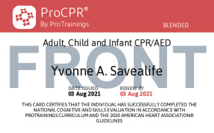 Sample General CPR for All Ages Card Front