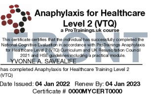 Sample Healthcare Anaphylaxis Level 2 (VTQ) Card Front