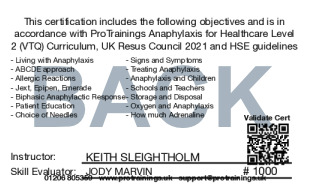 Sample Healthcare Anaphylaxis Level 2 (VTQ) Card Back