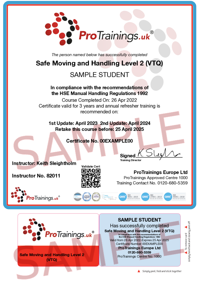 Sample Safe Moving and Handling Level 2 (VTQ) Classroom Certificate