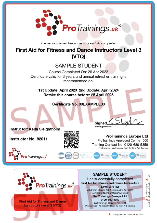 Sample First Aid for Fitness and Dance Instructors Classroom Certificate
