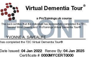 Sample Virtual Dementia Tour (VDT) Card Front