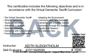 Sample Virtual Dementia Tour (VDT) Card Back