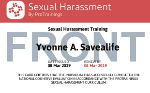 Sample Sexual Harassment Card Front