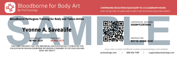 Bloodborne for body art course details tattoo for Bloodborne pathogens for tattoo artists