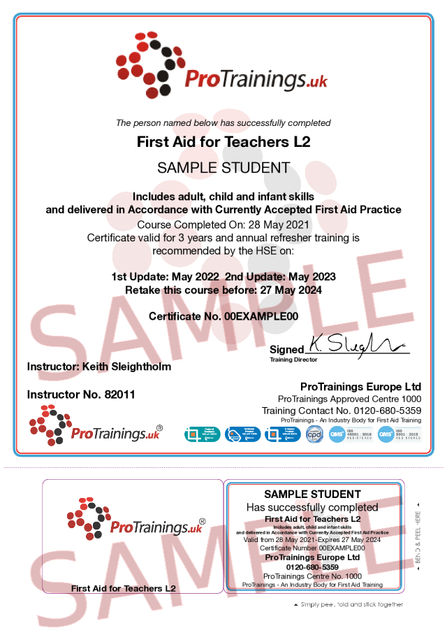Sample First Aid for Teachers Classroom Certificate