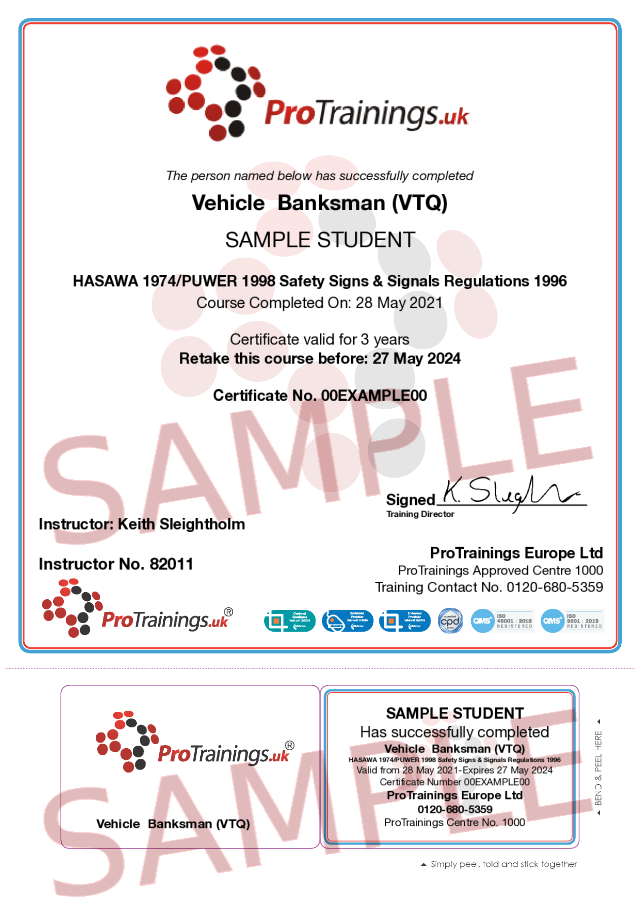 Sample Vehicle Banksman (VTQ) Classroom Certificate