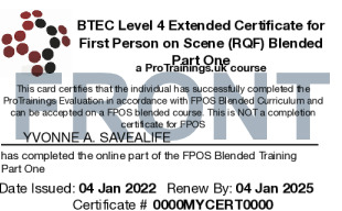 Sample BTEC Level 4 Certificate for First Person on Scene (RQF) Blended Part One - FPOS Card Front
