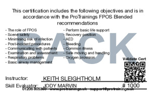 Sample BTEC Level 4 Certificate for First Person on Scene (RQF) Blended Part One - FPOS Card Back