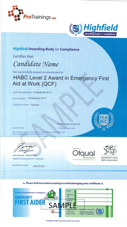 Sample HABC Level 2 Award in Emergency First Aid at Work (QCF) Classroom Certificate