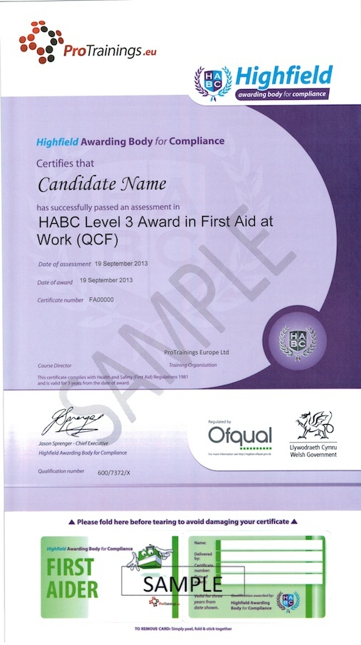 Sample HABC Level 3 Award in First Aid at Work (QCF) Classroom Certificate