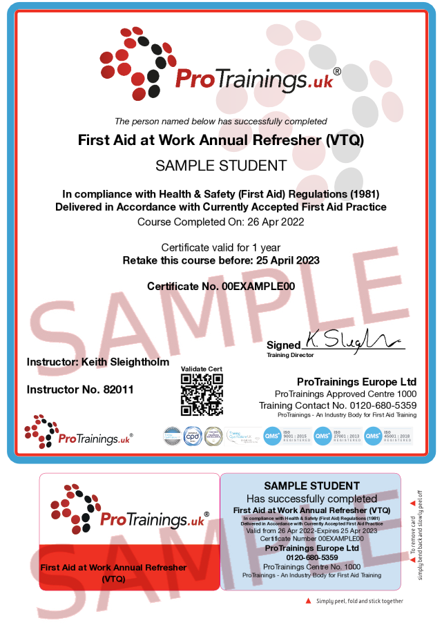 Sample First Aid at Work Annual Refresher (VTQ) Classroom Certificate
