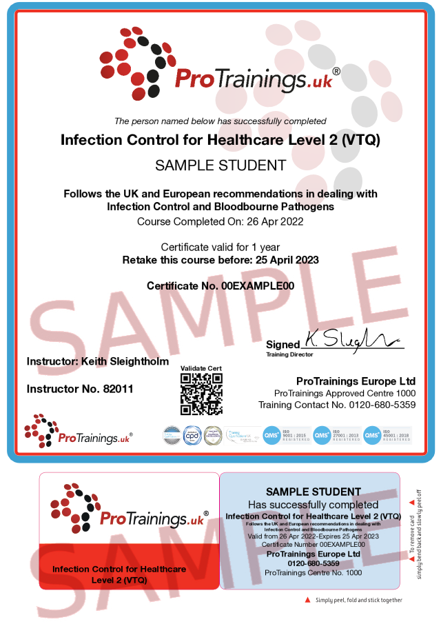 Sample Infection Control for Healthcare Level 2 (VTQ) Classroom Certificate