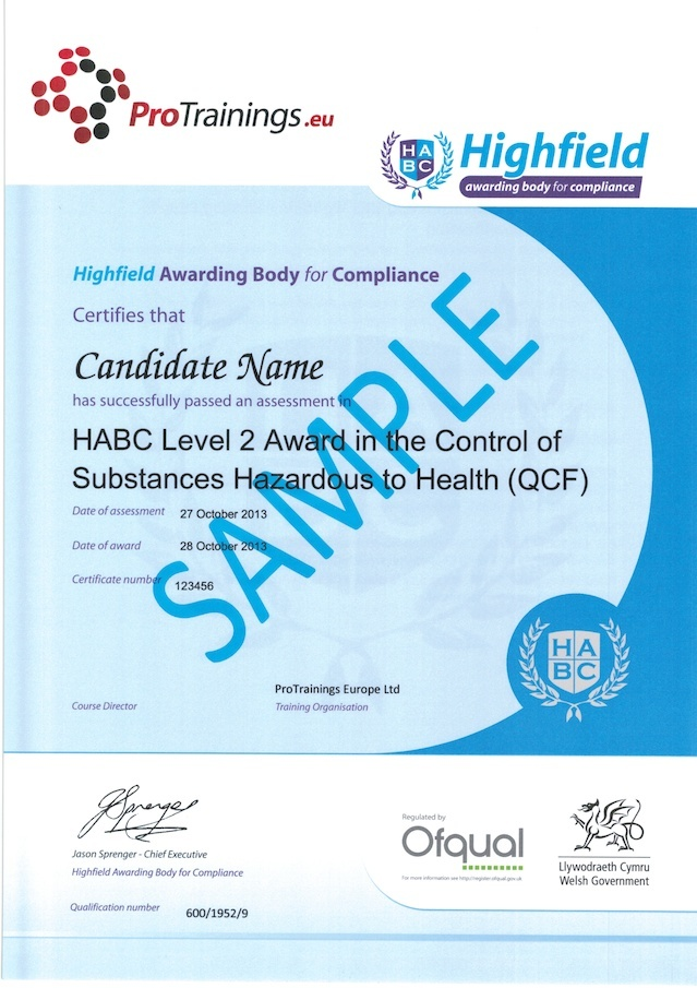 Sample HABC Level 2 Award in the Control of Substances Hazardous to Health (QCF) Classroom Certificate