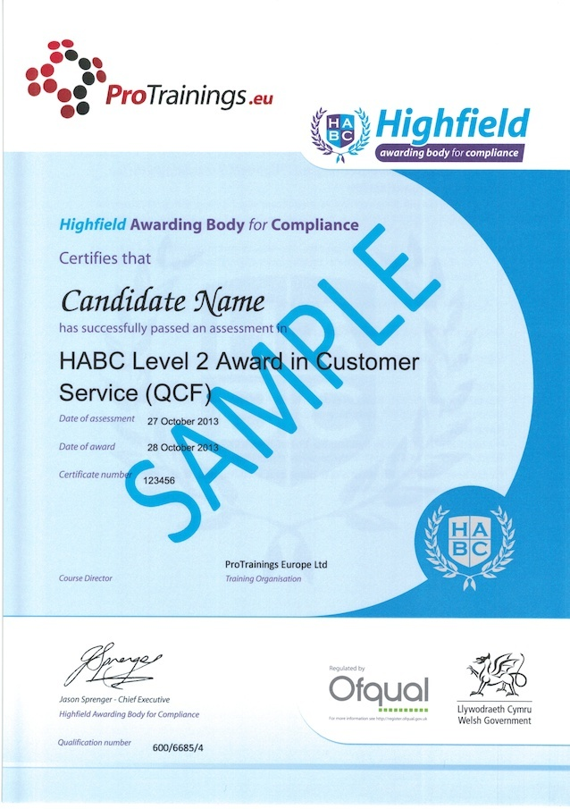 Sample HABC Level 2 Award in Customer Service (QCF) Classroom Certificate