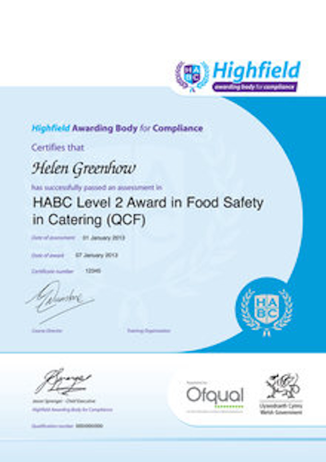 Sample HABC Level 2 Award in Food Safety in Catering (QCF) Classroom Certificate