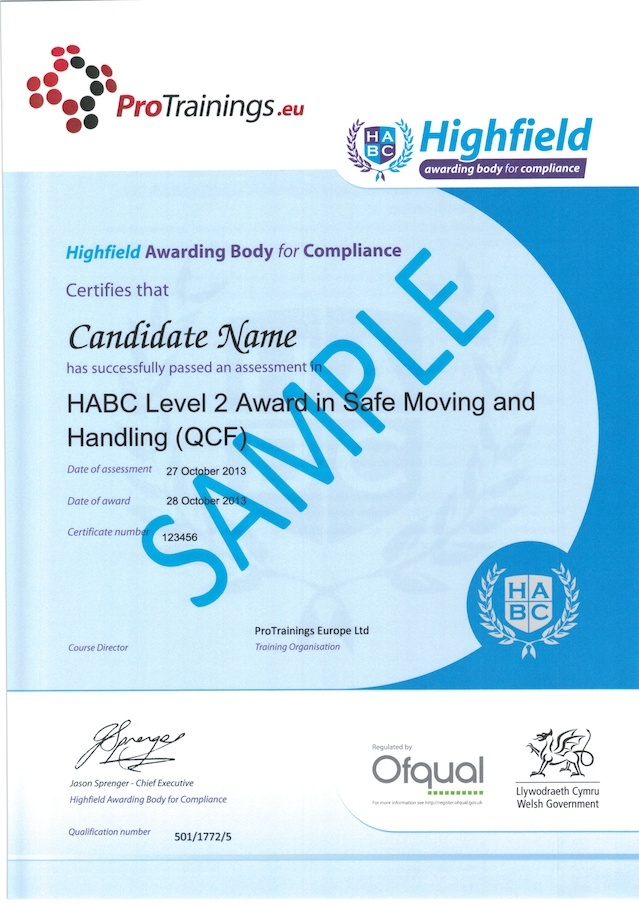 Sample HABC Level 2 Award in Safe Moving and Handling (QCF) Classroom Certificate
