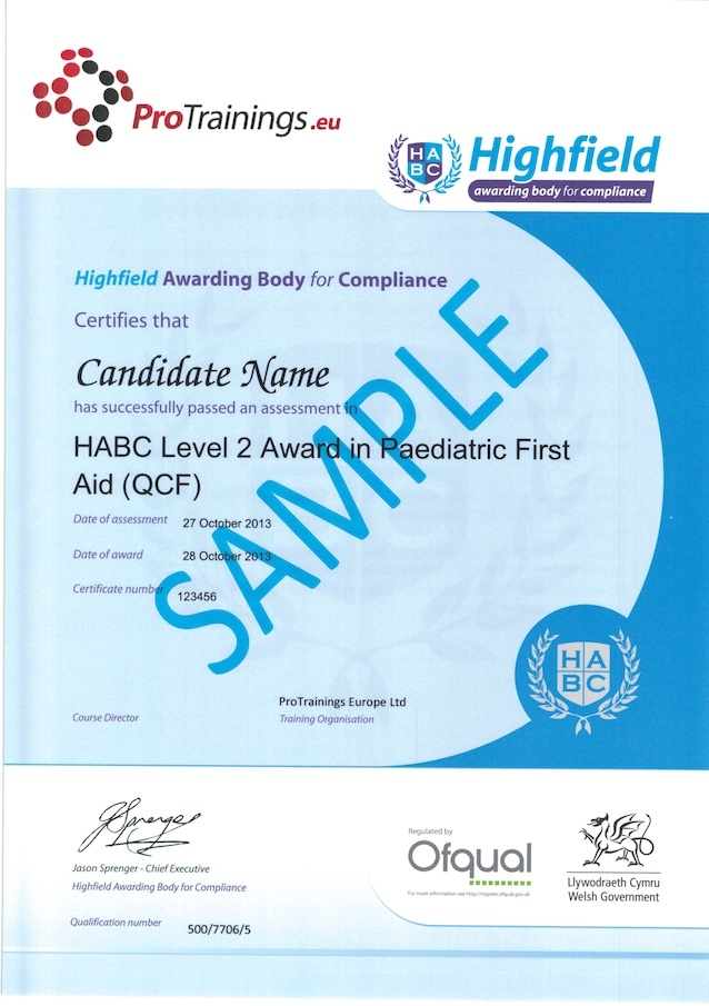 Sample HABC Level 2 Award in Paediatric First Aid (QCF) Classroom Certificate