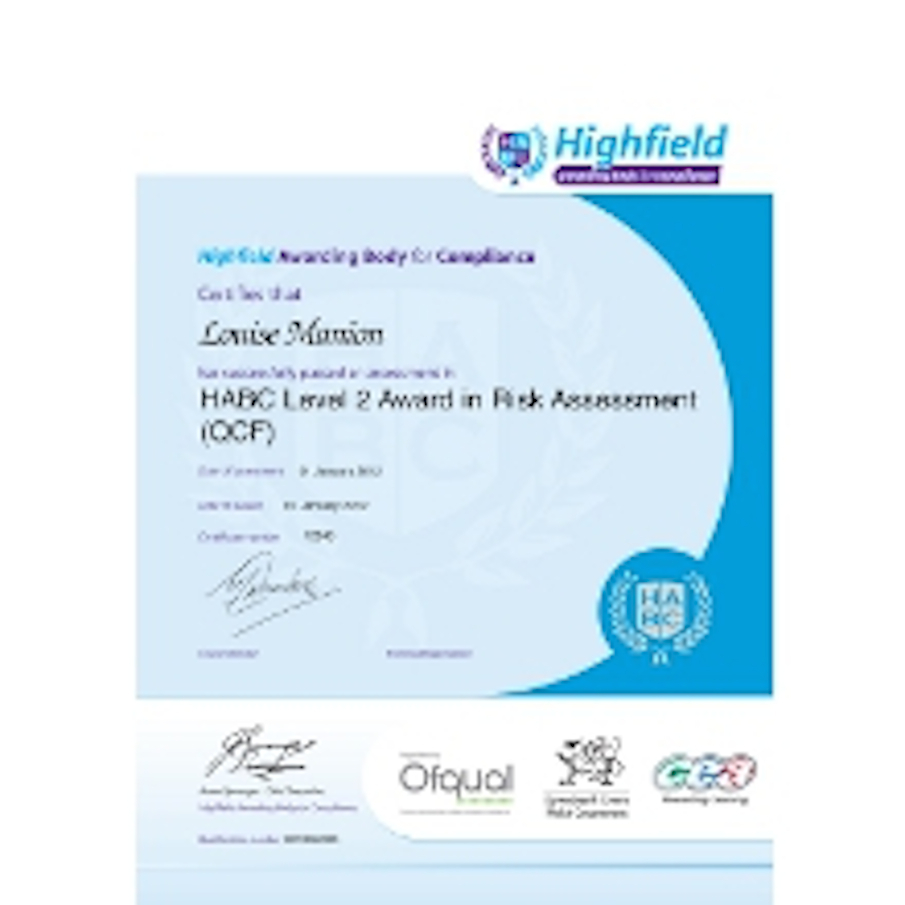 Sample HABC Level 2 Award in Risk Assessment (QCF) Classroom Certificate