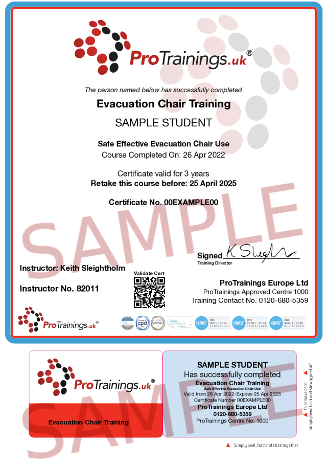 Sample Evacuation Chair Classroom Certificate