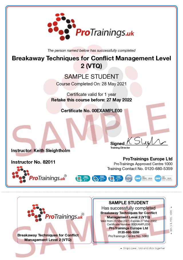 Sample Breakaway Techniques for Conflict Management Classroom Certificate