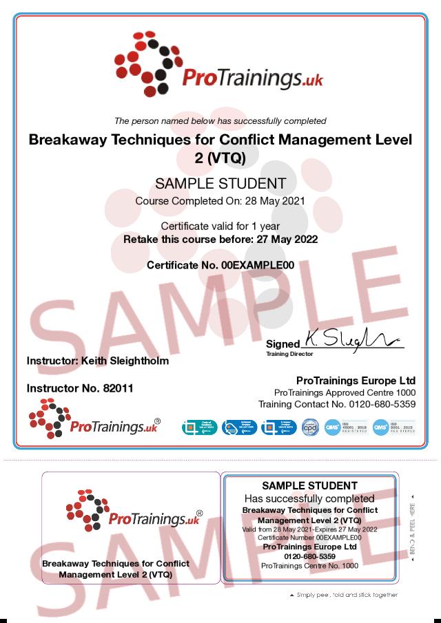 Sample Breakaway Techniques for Conflict Management Level 2 (VTQ) Classroom Certificate