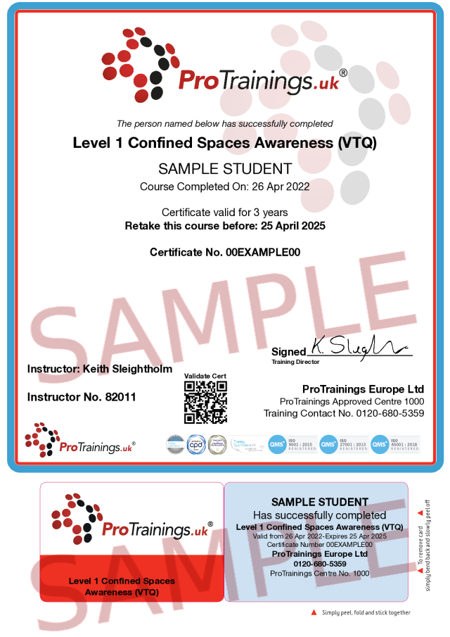 Sample Confined Spaces Awareness Classroom Certificate