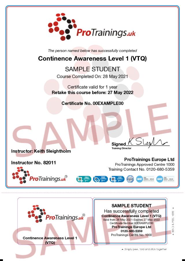 Sample Continence Awareness Level 1 (VTQ) Classroom Certificate