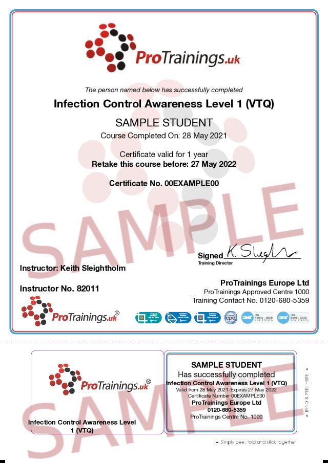 Sample Infection Control Awareness Level 1 (VTQ) Classroom Certificate