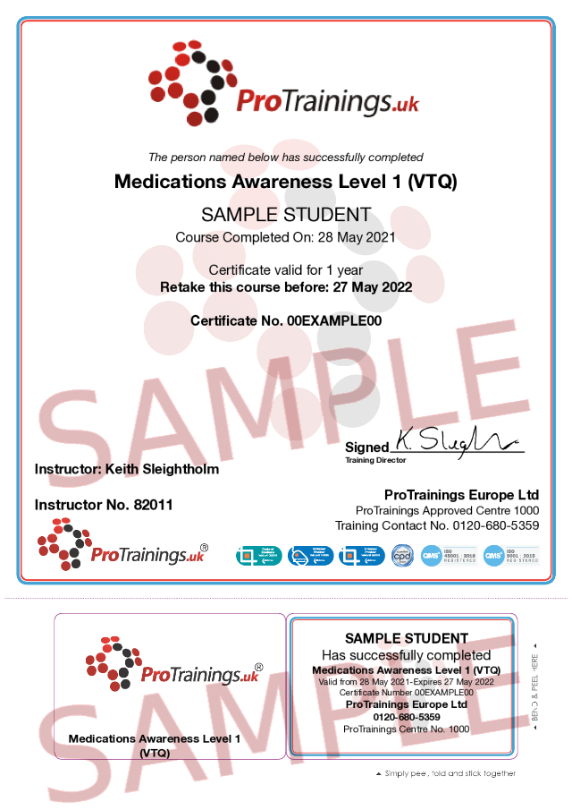Sample Medications Awareness Level 1 (VTQ) Classroom Certificate