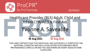 Sample Healthcare Provider CPR and First Aid Card Front