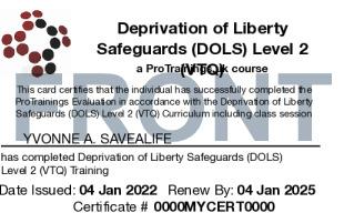 Sample Deprivation of Liberty Safeguards (DOLS) Card Front