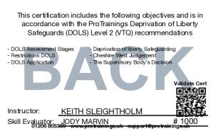 Sample Deprivation of Liberty Safeguards (DOLS) Card Back