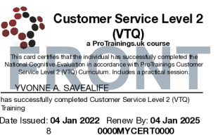Sample Customer Service Level 2 (VTQ) Card Front