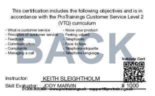 Sample Customer Service Level 2 (VTQ) Card Back