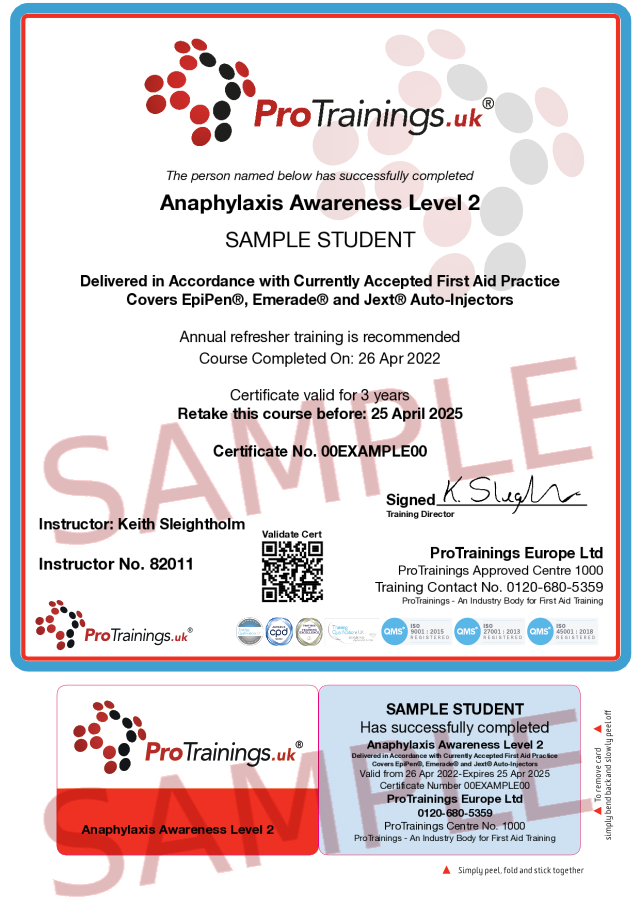 Sample Anaphylaxis Awareness Level 2 (VTQ) Classroom Certificate