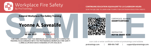 Workplace Fire Safety Course Details | ProTrainings