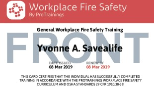 Sample Workplace Fire Safety Card Front