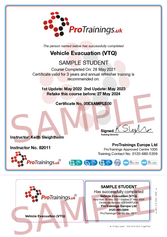 Sample Vehicle Evacuation (VTQ) Classroom Certificate