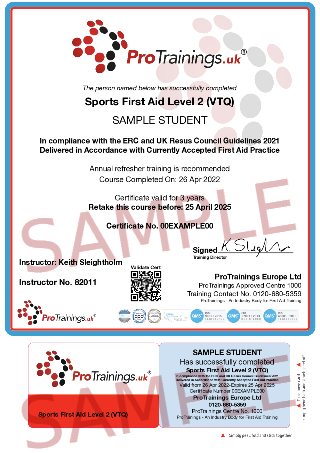 Sample Sports First Aid Level 2 (VTQ) Classroom Certificate