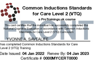 Sample Common Inductions Standards Card Front