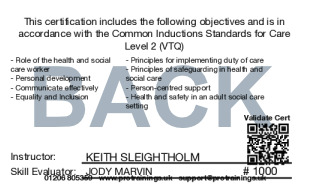 Sample Common Inductions Standards Card Back