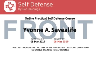 Sample Self Defense Card Front