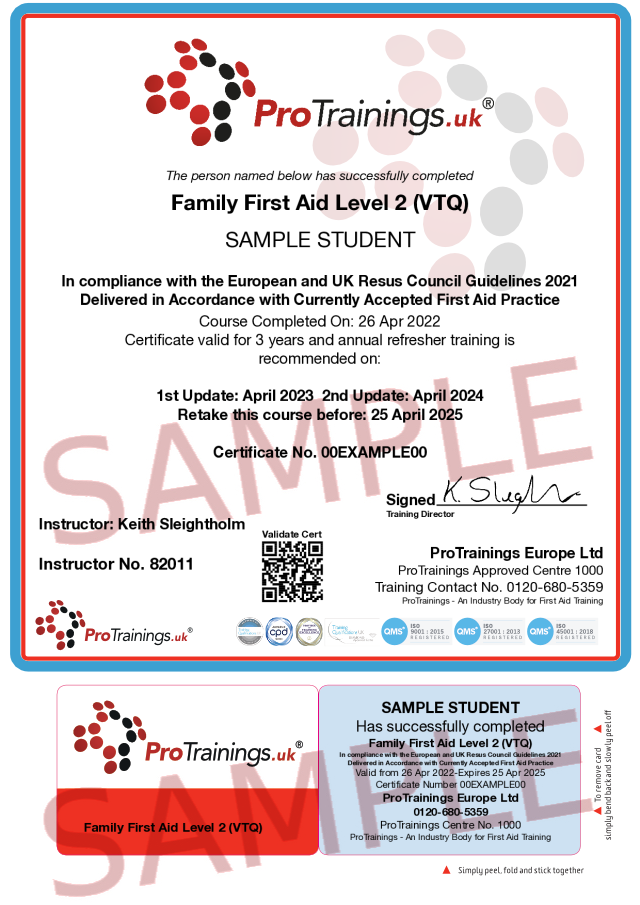 Sample Family First Aid Level 2 (VTQ) Classroom Certificate
