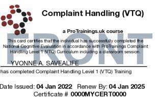 Sample Complaint Handling Level 1 (VTQ) Card Front