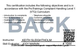 Sample Complaint Handling Level 1 (VTQ) Card Back