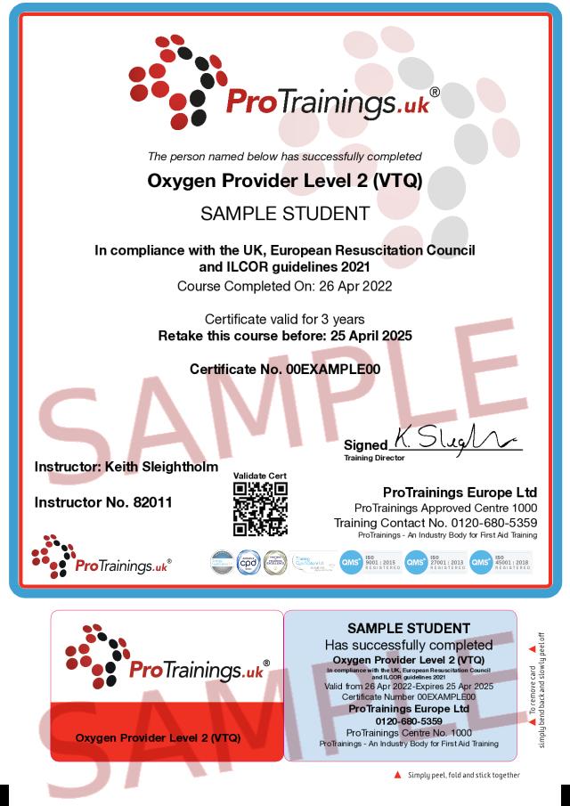 Sample Oxygen Provider Classroom Certificate