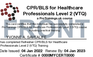 Sample CPR/BLS for Healthcare Professionals Refresher Card Front