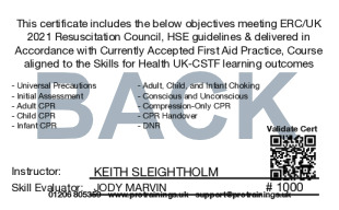 Sample CPR/BLS for Healthcare Professionals Refresher Card Back