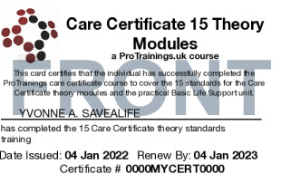 Sample Care Certificate Card Front